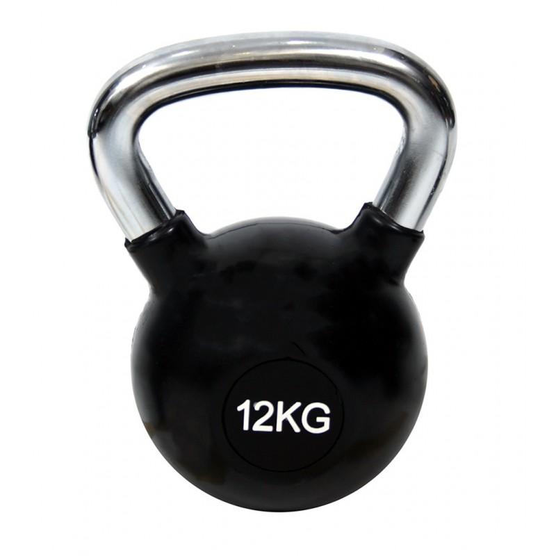 KETTLEBELL ΧΡΩΜΙΟΥ 12kg ΜΕ ΛΑΣΤΙΧΟ 7151-12 (H&S)