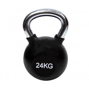 KETTLEBELL ΧΡΩΜΙΟΥ 24kg ΜΕ ΛΑΣΤΙΧΟ 7151-24 (H&S)